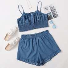 Plus Size Tie Front Cami Top & Paper Bag Waist Shorts Denim Set