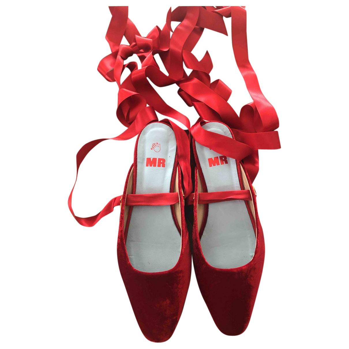 Mr By Man Repeller \N Red Velvet Ballet flats for Women 39 EU