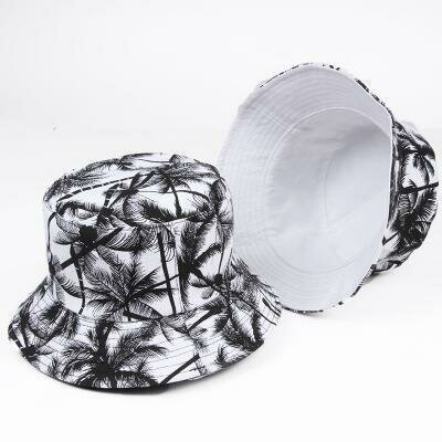 Woman Men Printed Coconut Double-sided Usable Bucket Cap Outdoor Sunscreen Visor Fisherman Hat