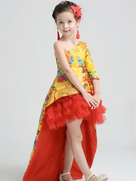 Milanoo Kids Pageant Dresses Girls Chinese Style Embroidered Asymmetrical Formal Gowns
