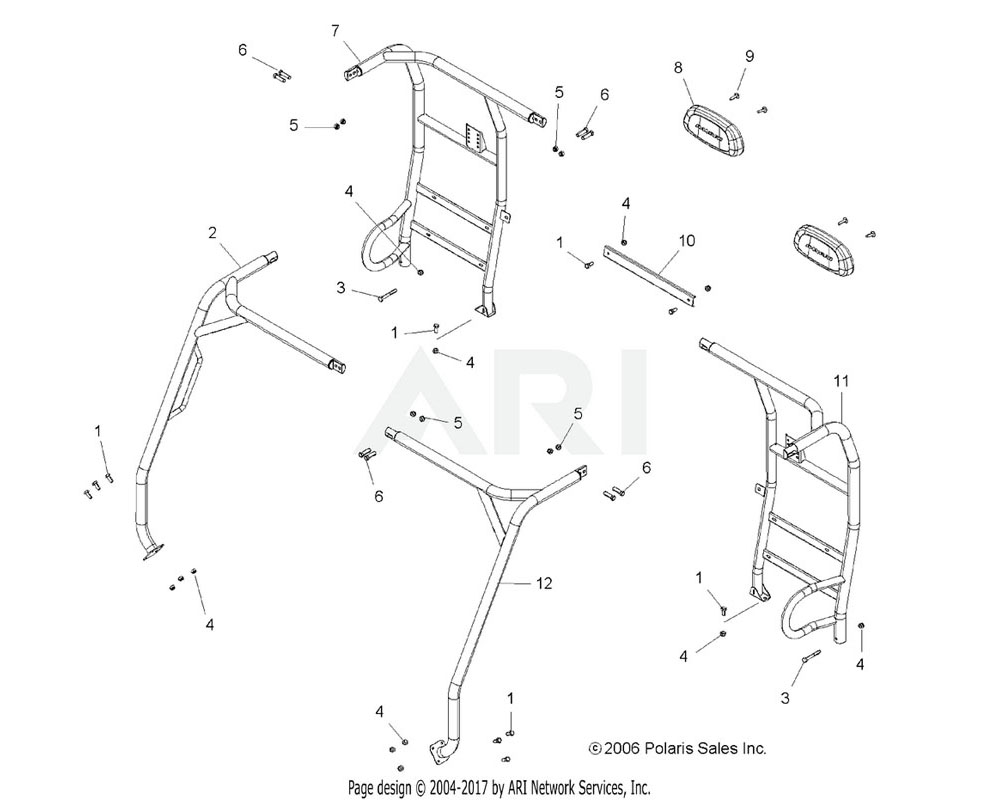 Polaris OEM 1015907-293 WELD-CAB FRAME, RR, LH, I.RED | [Incl. Warning Decals][AW]