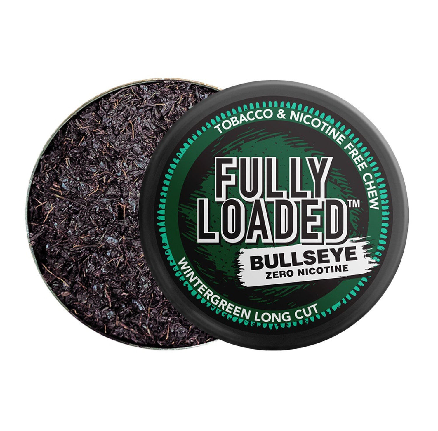 Fully Loaded Chew Tobacco and Nicotine Free Wintergreen Bullseye Long Cut Refreshing Flavor, Chewing Alternative