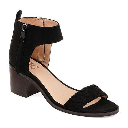 Journee Collection Womens Hunter Heeled Sandals, 8 Medium, Black