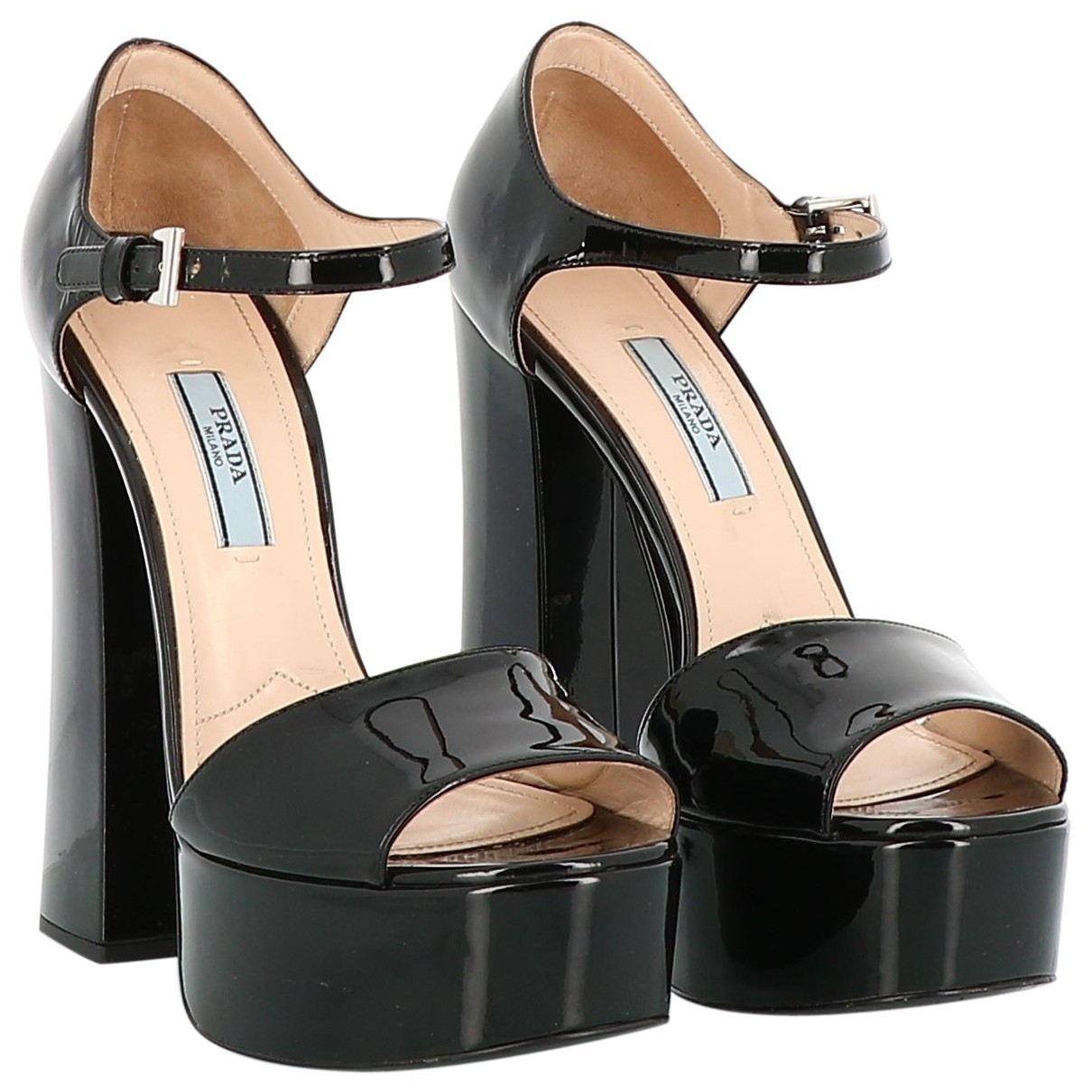 Prada \N Black Patent leather Sandals for Women 38.5 EU