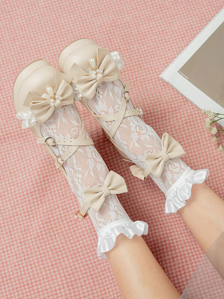 Milanoo Sweet Lolita Shoes Pink Bows PU Leather Chunky Heel Stripes Lolita Shoes