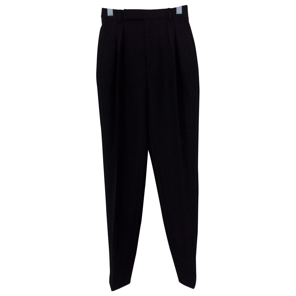 Celine \N Black Wool Trousers for Women 34 FR