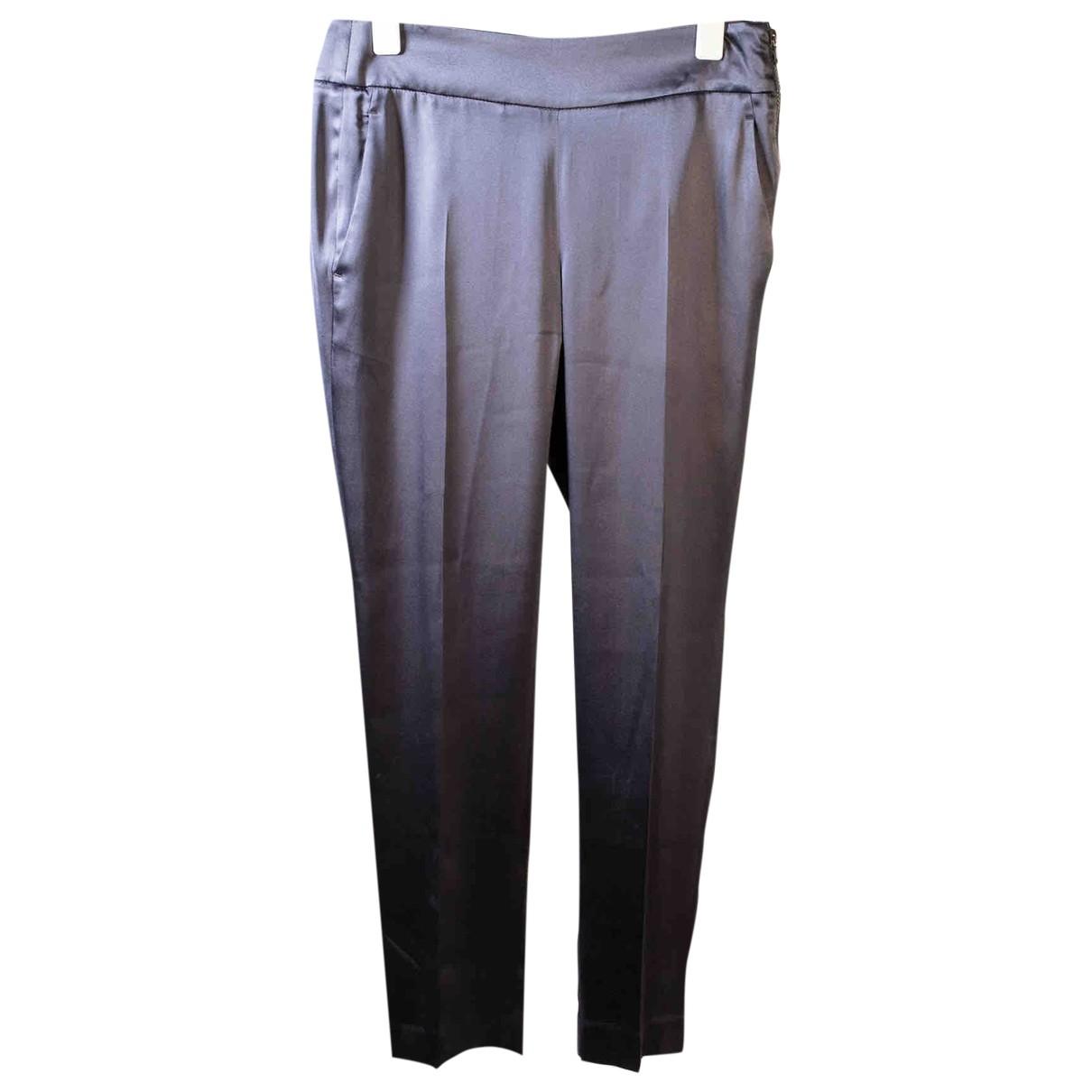 Brunello Cucinelli \N Navy Silk Trousers for Women 38 FR
