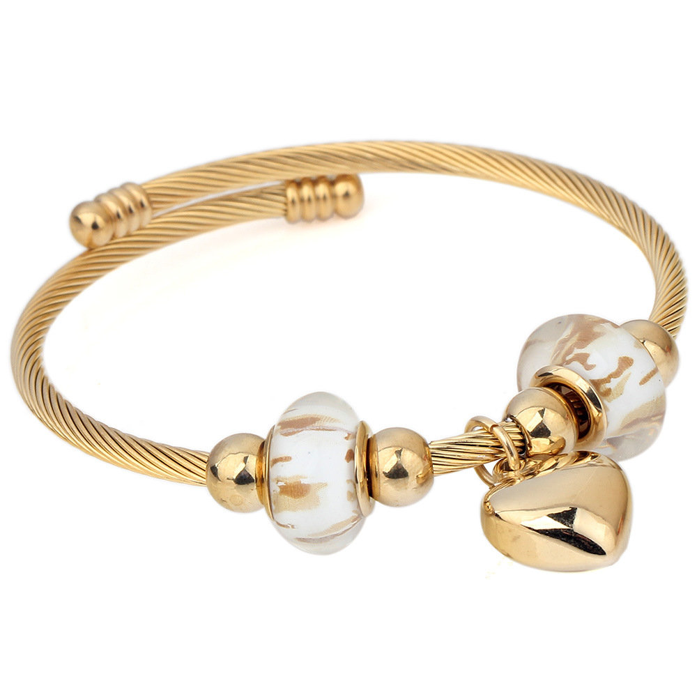 Fashion Women's Stainless Steel Gold Bangle Silver Color Heart Charm Adjustable Bracelets for Women