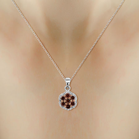 1/2 CT. T.W. White & Color-Enhanced Red Diamond Cluster Pendant Necklace, One Size , No Color Family