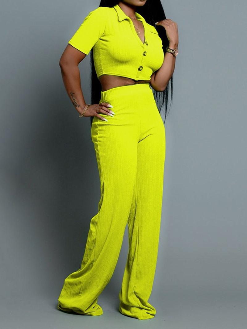 Ericdress Plain Lapel Skinny Women's Suit T-Shirt And Pants Two Piece Sets