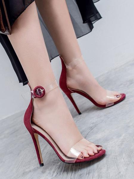Milanoo High Heel Sandals Womens Transparent Open Toe Ankle Strap Stiletto Heel Sandals