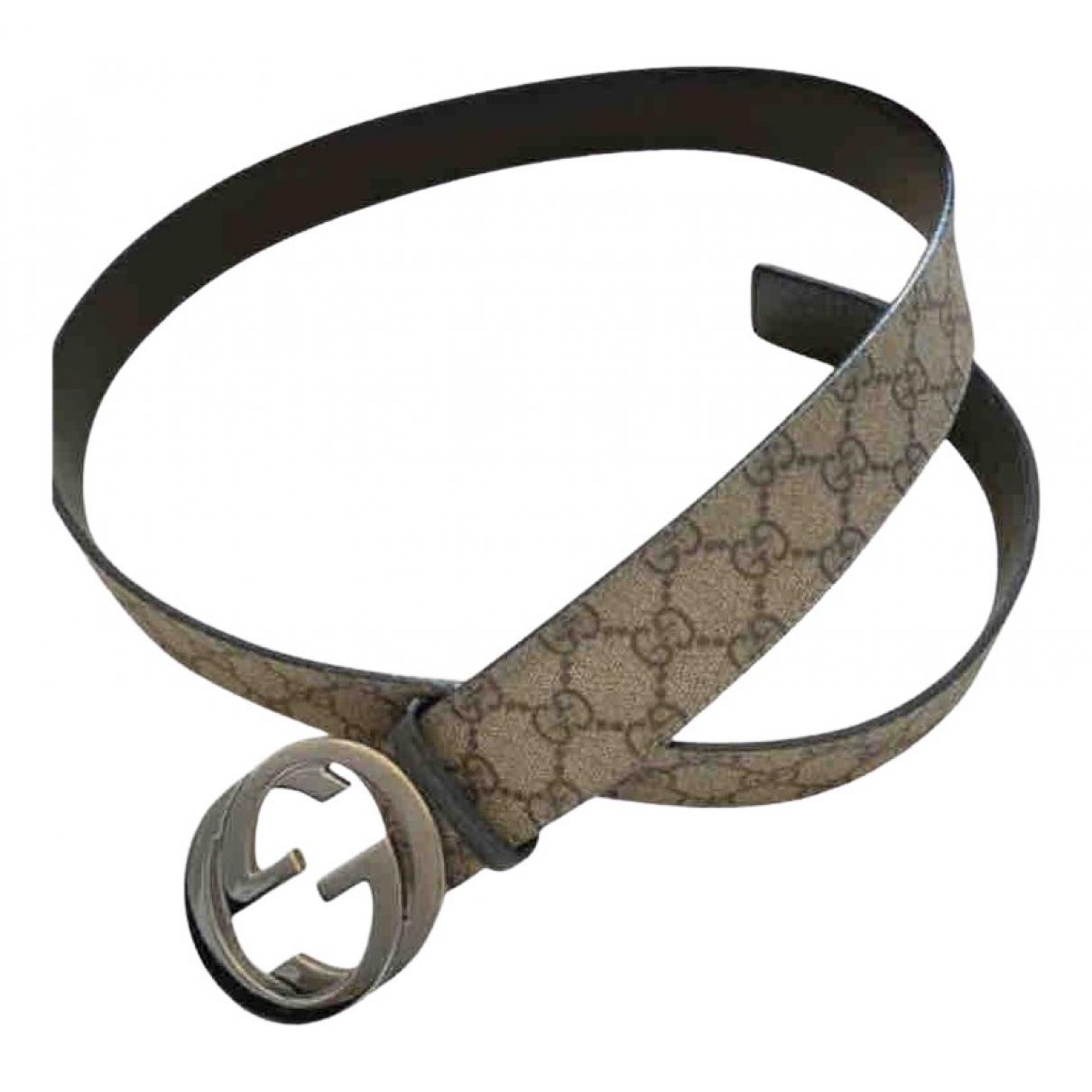 Gucci Interlocking Buckle Beige Cloth belt for Men 90 cm