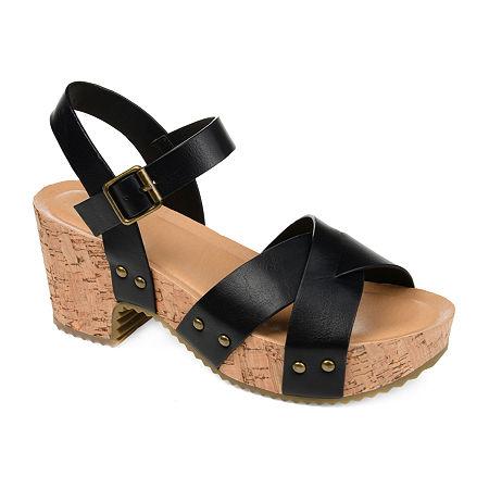Journee Collection Womens Valentina Pumps Block Heel, 8 Medium, Black