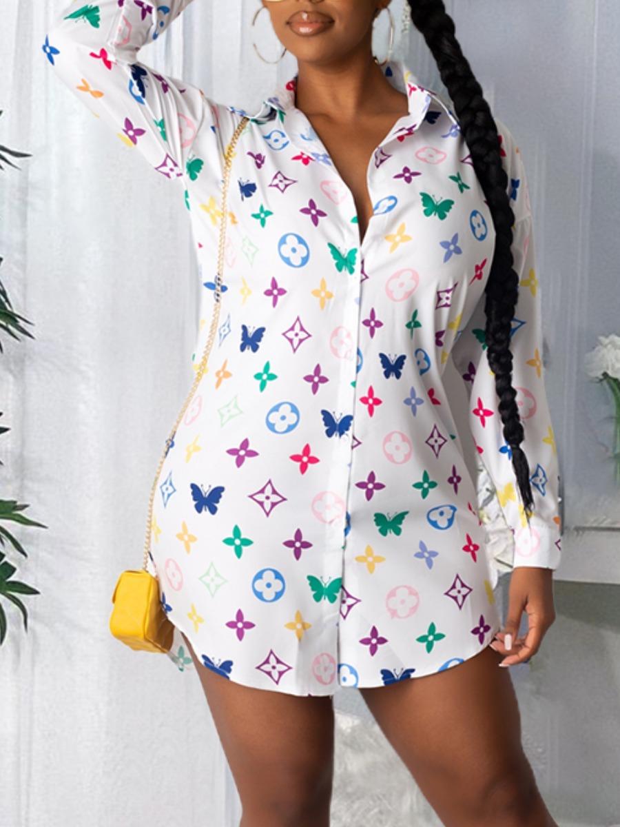 LW lovely Trendy Turndown Collar Print White Mini Shirt Dress