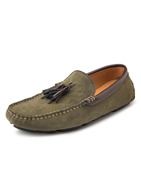 Milanoo Mens Tassel Moccasin Loafers Slip-On Driving Shoes
