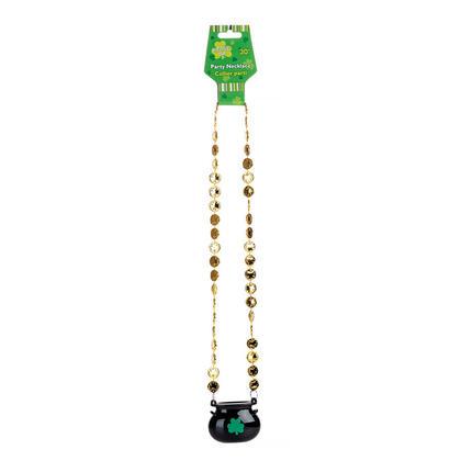 St.Pat's 30'' Gold Coins Necklace w/Black Pot