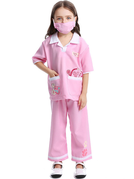 Milanoo Kids Halloween Cosplay Costumes Pink Doctor Polyester Pants With Top