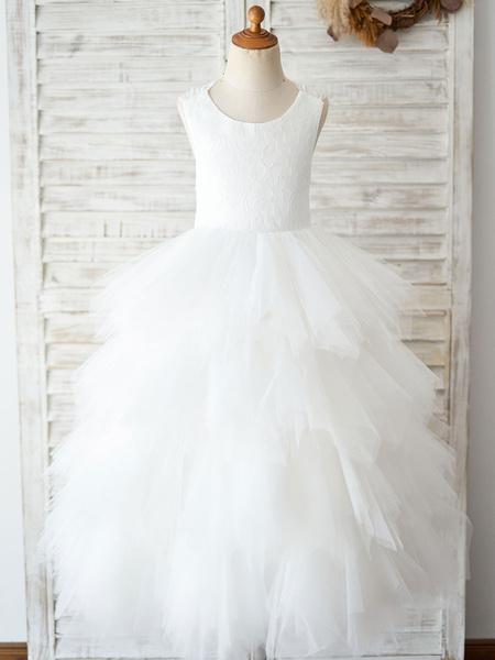 Milanoo Flower Girl Dresses Jewel Neck Sleeveless Back Crossed-Lace Formal Kids Pageant Dresses