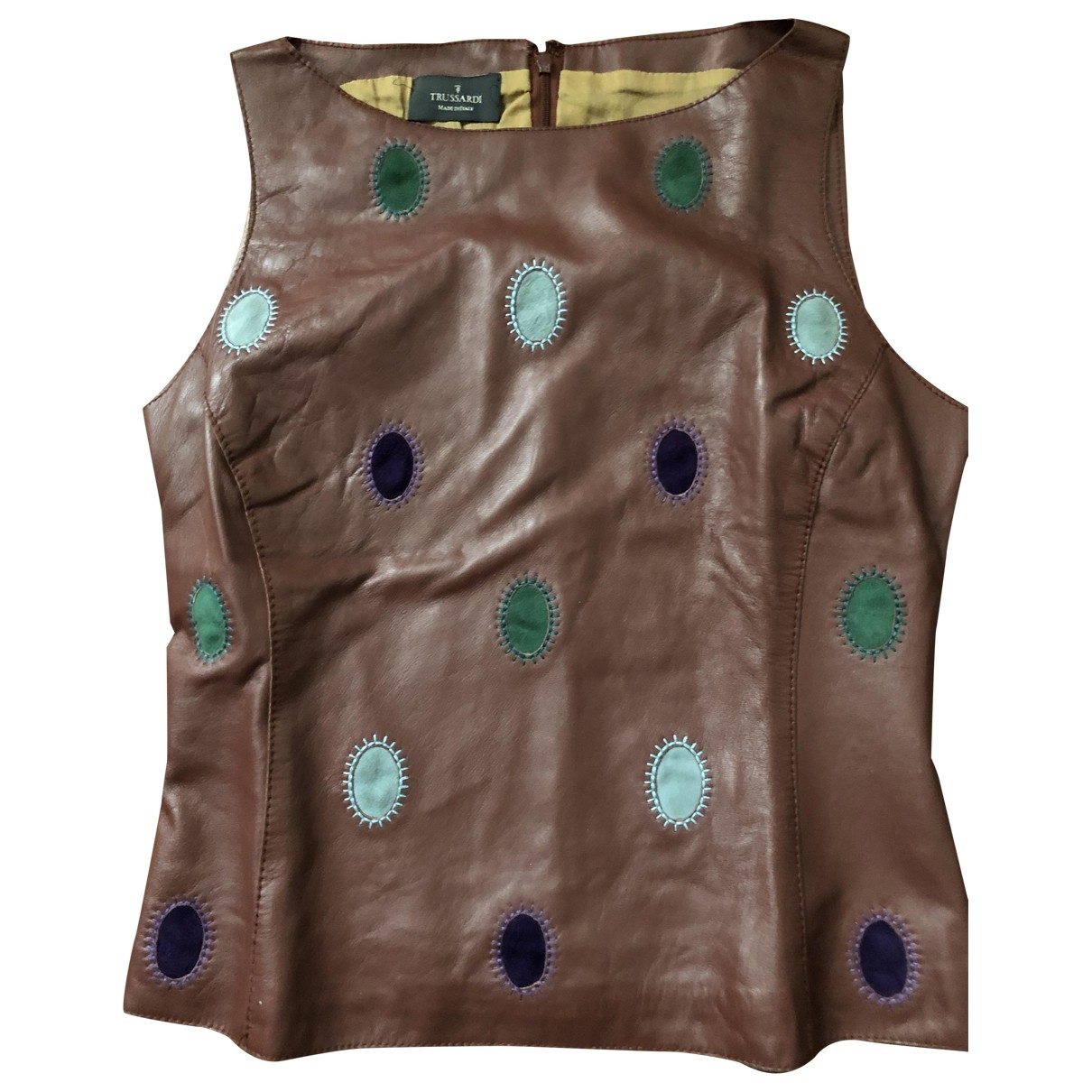 Trussardi \N Brown Leather  top for Women 42 IT