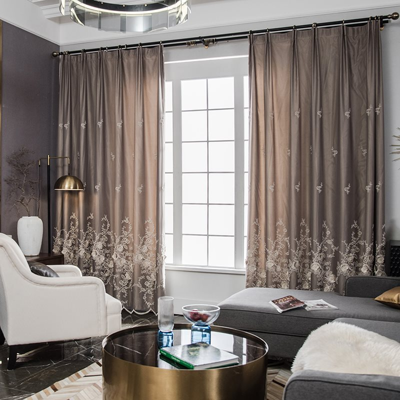 Modern Nordic Style Embossed Embroidery Blackout Grey Custom Ready Made Curtain Sets