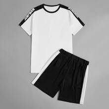 Men Letter Graphic Tee With Track Shorts