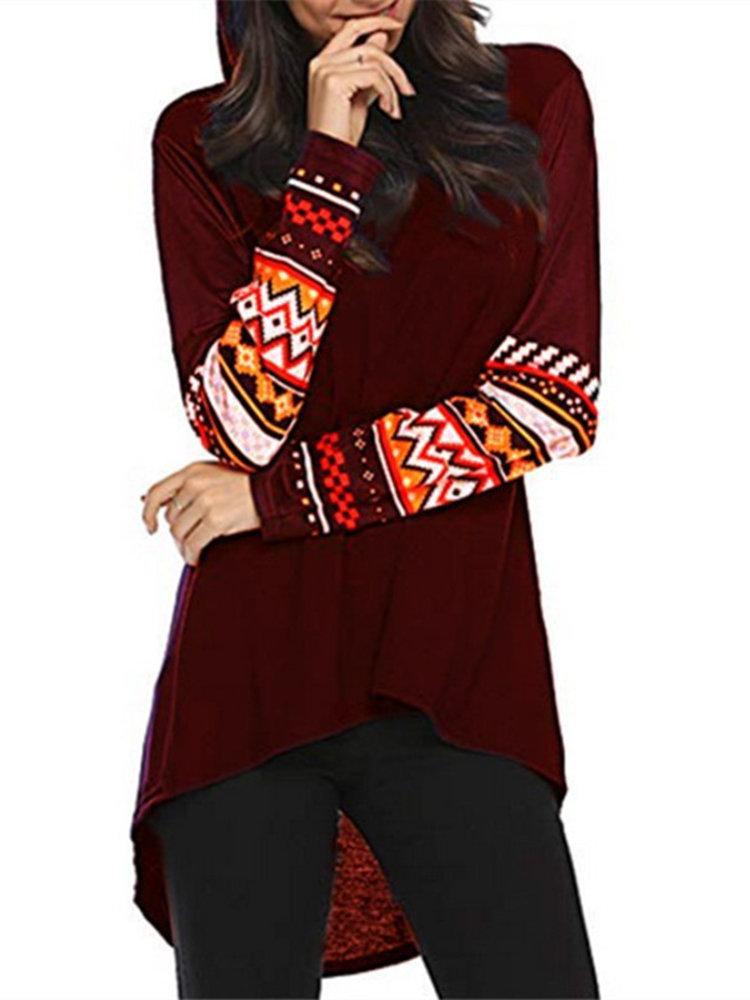 Casual Print Long Sleeve Mid Length Hoodie for Women