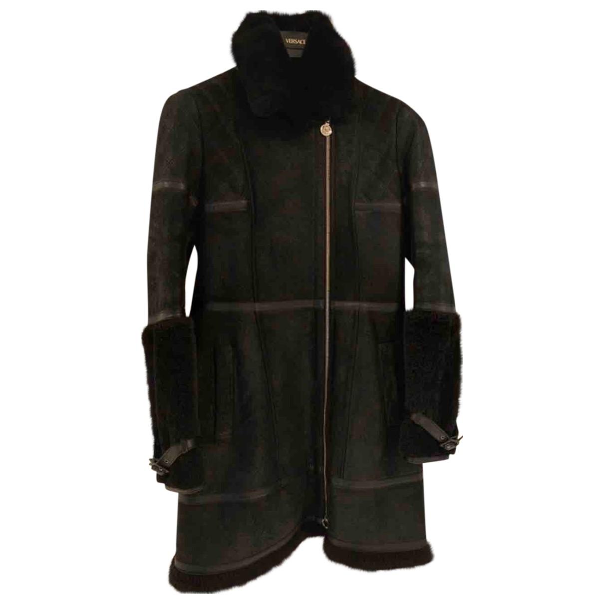 Versace \N Black Leather coat for Women 42 IT