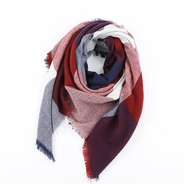 Women Warm Lattice Square Scarf Shawl OversizedBlanket Wrap Tassel Edge Scarves