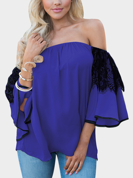 Yoins Blue Lace Insert Off Shoulder Lantern Sleeves Blouse