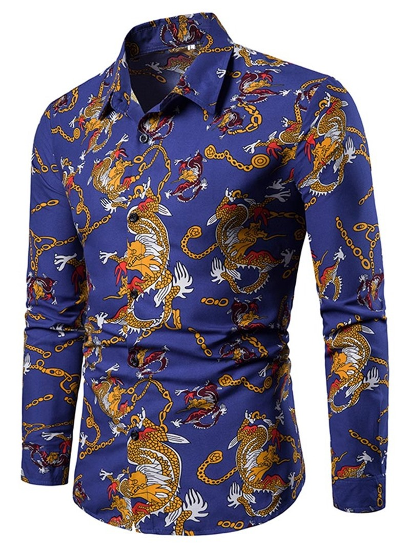 Ericdress Print Lapel Cartoon Single-Breasted Men's Shirt