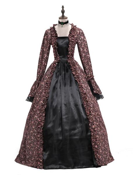 Milanoo Victorian Dress Costume Women's Baroque Brown Ball Gown Masquerade Floral Print Royal Long Sleeves Coffee Brown Victorian era Clothing Retro C