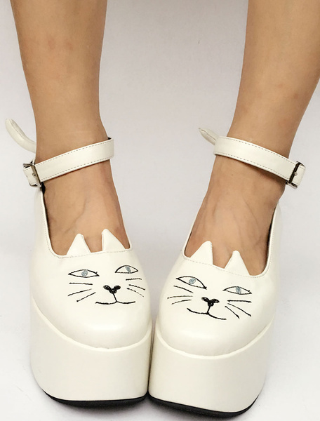Milanoo Sweet Lolita Shoes White Platform Cat Ankle Strap Round Toe Lolita Pumps