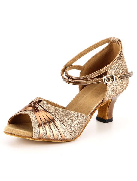 Milanoo Gold Glitter Latin Dance Sandals Ballroom Heels for Women
