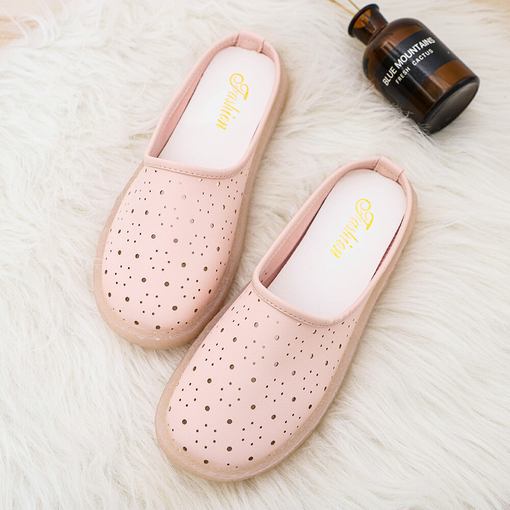 Women Closed Toe Solid Color Hollow Soft Sofes Flats Slippers