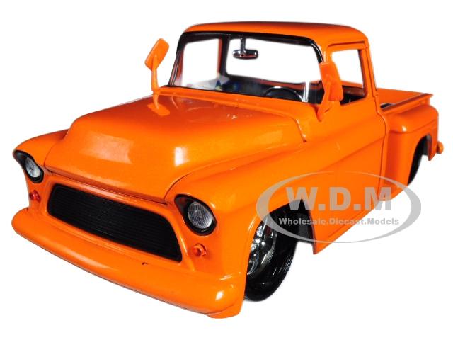 1955 Chevrolet Stepside Pickup Truck Orange Just Trucks 1/24 Diecast Model Car by Jada