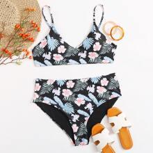 Plus Tropical & Floral High Waisted Bikini Swimsuit