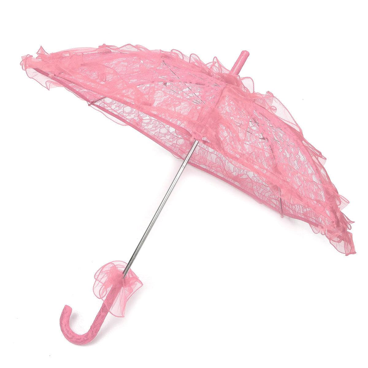 Bride Handmade Flower Girls Battenburg Lace Parasol Wedding Party Sun Umbrella