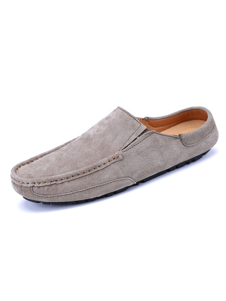 Milanoo Mens Sandals Slip-On Suede Leather Rubber Sole Solid Color Men\'s Slipper