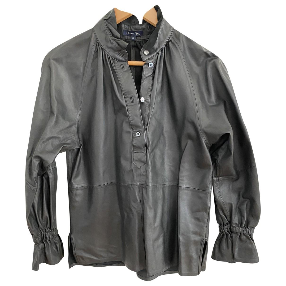 Soeur \N Black Leather  top for Women 36 FR