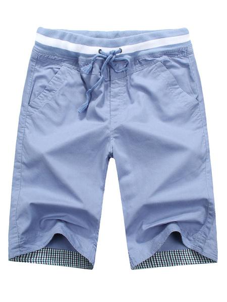 Milanoo  Men Casual Shorts Pure Cotton Solid Color Capri Shorts Casual