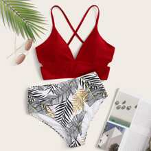Tropical Crisscross Tie Back Bikini Swimsuit