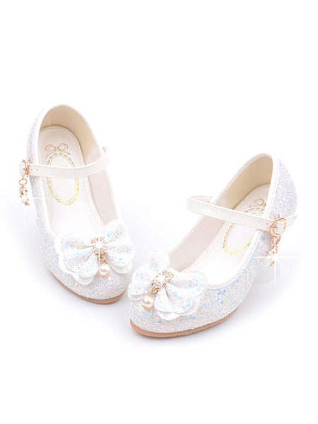 Milanoo Flower Girl Shoes Pink Sequined Round Toe Bows Party Shoes For Kids