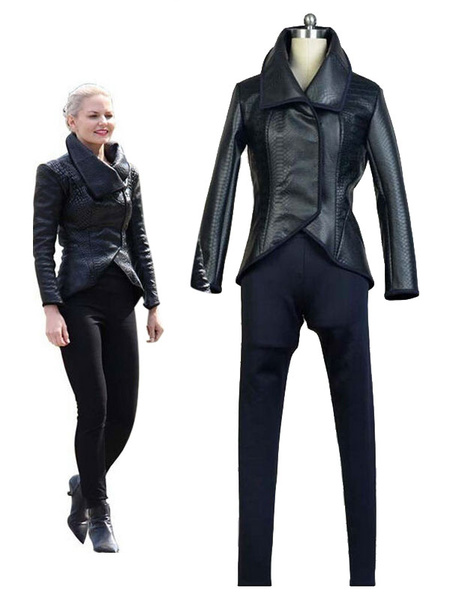 Milanoo Once Upon A Time Emma Swan Cosplay Costume Black Jacket Costume Halloween