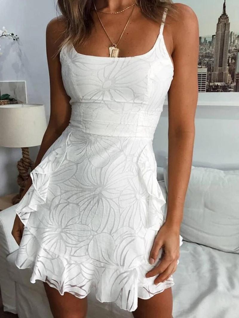 Ericdress Above Knee Sleeveless Stringy Selvedge Floral High Waist Dress