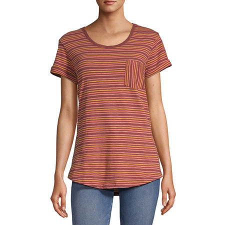 a.n.a-Womens Round Neck Short Sleeve T-Shirt, X-large , Red