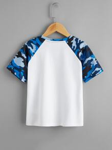 Boys Camo Raglan Sleeve Patched Detail Tee