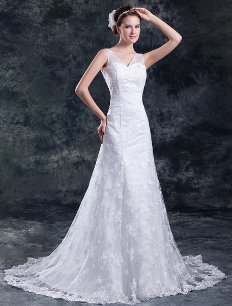 Milanoo White A-line V-Neck Beading Lace Wedding Dress For Bride