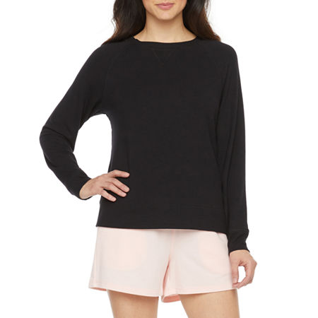 Ambrielle Womens French Terry Pajama Top Round Neck, Large , Black
