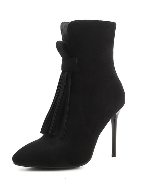 Milanoo High Heel Booties Suede Pointed Toe Stiletto Heel Ankle Boots With Tassels