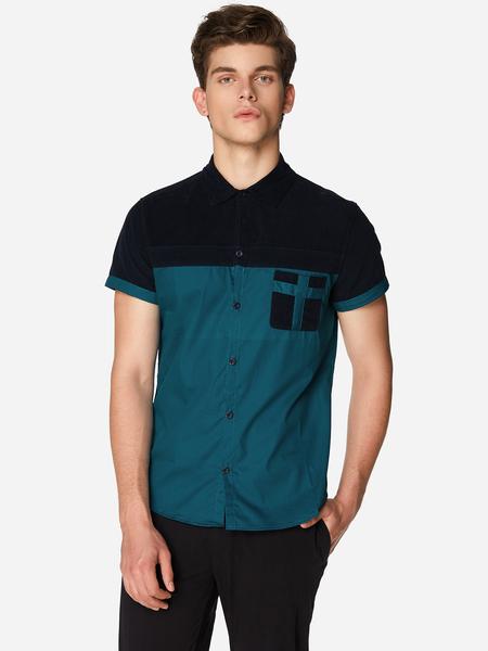 Yoins Dark Blue Pocket Design Classic Collar Long Sleeve Men's Shirt